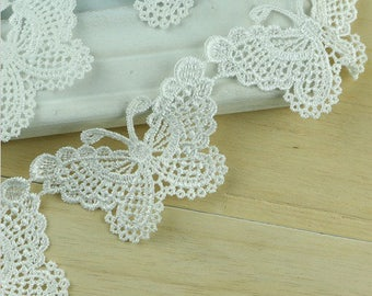 Butterfly lace trim ivory 5cm wide