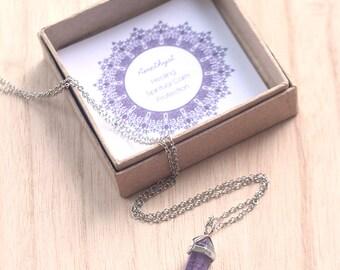 Purple Amethyst Necklace, Amethyst Crystal Point Necklace, Amethyst Pendant, Purple Gemstone Necklace, Bridesmaid Gift, Christmas Gift