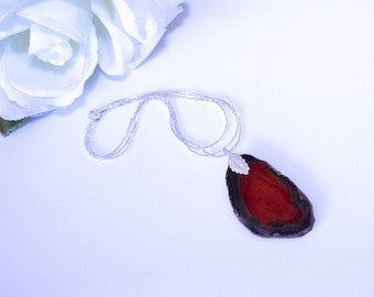 AGATE SLICE NECKLACE 18K white gold plated chain stone pendant with chain necklace Great for layering red orange agate pendant