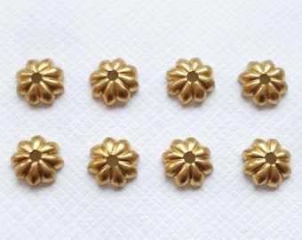 8 6mm Raw Brass Daisy Bead Caps