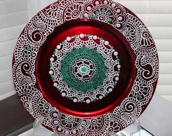 Hand Painted Mehndi Art Large Decorative Charger Plates 13 Inch : decorative charger plates - pezcame.com