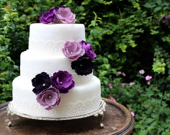 Purple Flower Wedding Cake Toppers - Forever Flowers - Flower Cake Toppers - Purple Cake Flowers - Wild Rose Cake Flowers - Cake Decoration