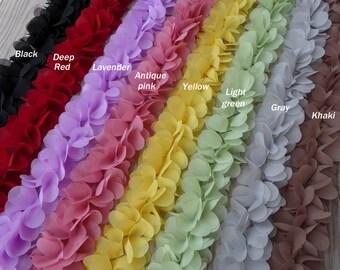 9 Colors - Soft Chiffon Lace, Chiffon Petal Flower Trim, Bridal sashes, Wedding supplies, Wholesale - You Pick Colors