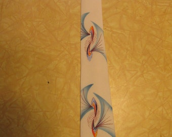 Gorgeous 1950s Hand Painted Ivory Rayon Crepe Rockabilly Tie