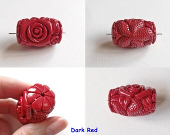 Reconstituted Coral with Resin Carved Barrel Beads 22x32 mm with Drilled Hole One Bead H4935