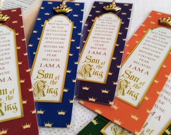 """Son of the King Bookmarks Prince Gift Favor """"ALL COLORS"""" Set of 5 Sunday School Class gift Inspirational Gift StrengthfortheJourney"""
