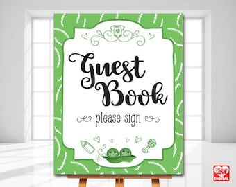 Peas in a Pod Baby Shower Printable Guestbook Sign, Twins Baby Shower, Sweet Pea, Gender Neutral Baby Shower, 8x10 Instant Download, JPG