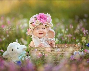 Little Bow Peep Sitter Floral Lamb Ears Bonnet