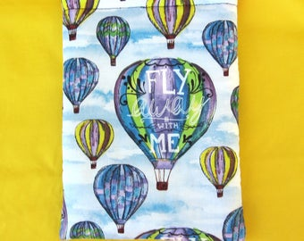 MINI BOOK SLEEVE- Hot Air Balloon - Book Pouch, Book Protector