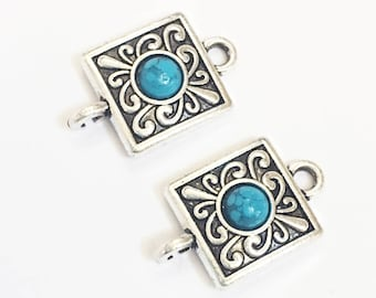 6 antique Silver Turquoise connector 22x13mm , bulk antique silver connector