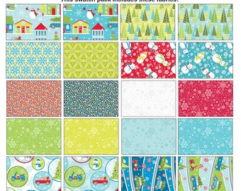 """Mulberry Lane by Cherry Guidry - Charm Pack (42) 5"""" squares  -Christmas -Quilt fabric- Contempo (Benartex) Snowmen, pine trees, gifts, snow"""