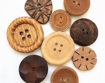 assorted vintage eco friendly distressed wood buttons--mixed lot of 9