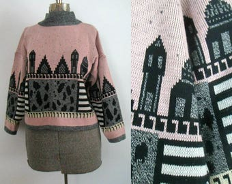 1980s Cityscape Pullover Sweater Pink Black Gray // Eighties Oversized Winter Sweater
