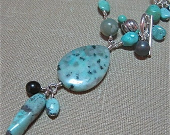 Adjustable Multi-stone Turquoise & Black Whimsical Wire-wrapped Ocean Necklace - N055