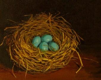 Robins egg nest original oil painting four blue eggs dark background original nest paintings originals