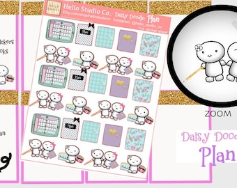 Planner Sisters plan Planner stickers Original doodle kawaii stickers. Handrawn stickers