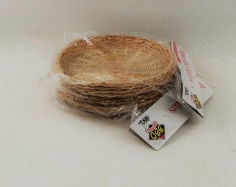 Wicker Paper Plate Holders Set of 8, In Original Packaging