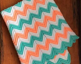 Handmade Crochet Mint / Coral Chevron Baby Blanket