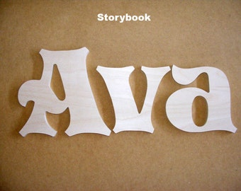 5 Letters Name Set - 6 Inch Wooden Unpainted Letters - Wood Letters - Wall Letters - Unfinished - Custom Size Available - Many Fonts