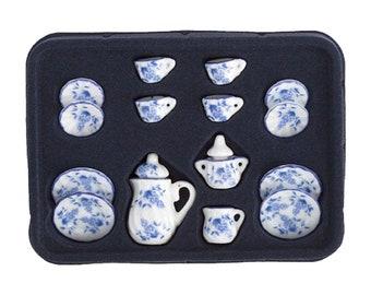 15 pc Miniature Dollhouse Plates White Blue Porcelain Set Design Cups Plastic Dollhouse Tableware MD0530