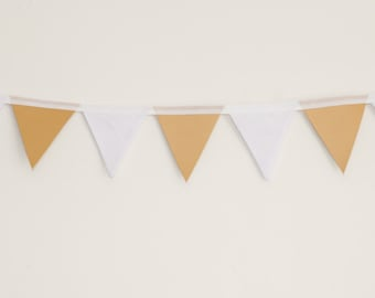 Leatherette / Faux Leather Gold and Pale Blue Polka Dot Bunting