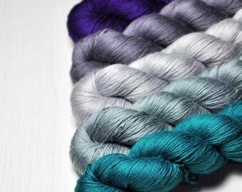 Pusillanimity - Gradient Yarn Set of Silk / Cashmere Lace Yarn - Hand Dyed Yarn - handgefärbte Wolle - DyeForYarn