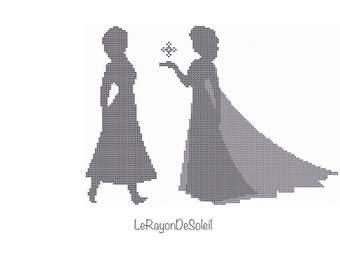 Elsa cross stitch pattern Anna and Elsa Disney princesses, Instant download PDF.