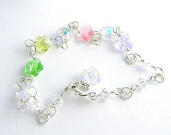 Pastel Colors Hand Made Sterling Silver and Swarovski Crystal Flower Elements Bracelet/Anklet 8.75 Inches