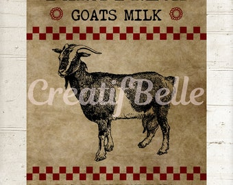 Instant Digital Download, Primitive Farm Fresh Goats Milk, Printable Graphic  Image 1328