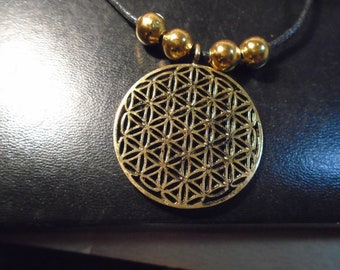 Flower of Life brass Pendant, Reki Sacred Egyptian Geometry, ancient metaphysical 22 karat gold plate beads adjustable  necklace , new tag,