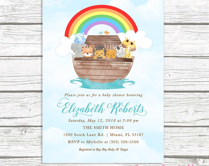Noah's Ark Baby Shower Invitation, Noah's Ark Invitation, Baby Shower Invitation Boy, Animal Baby Shower, Noah's Ark Invite, Gender Neutral