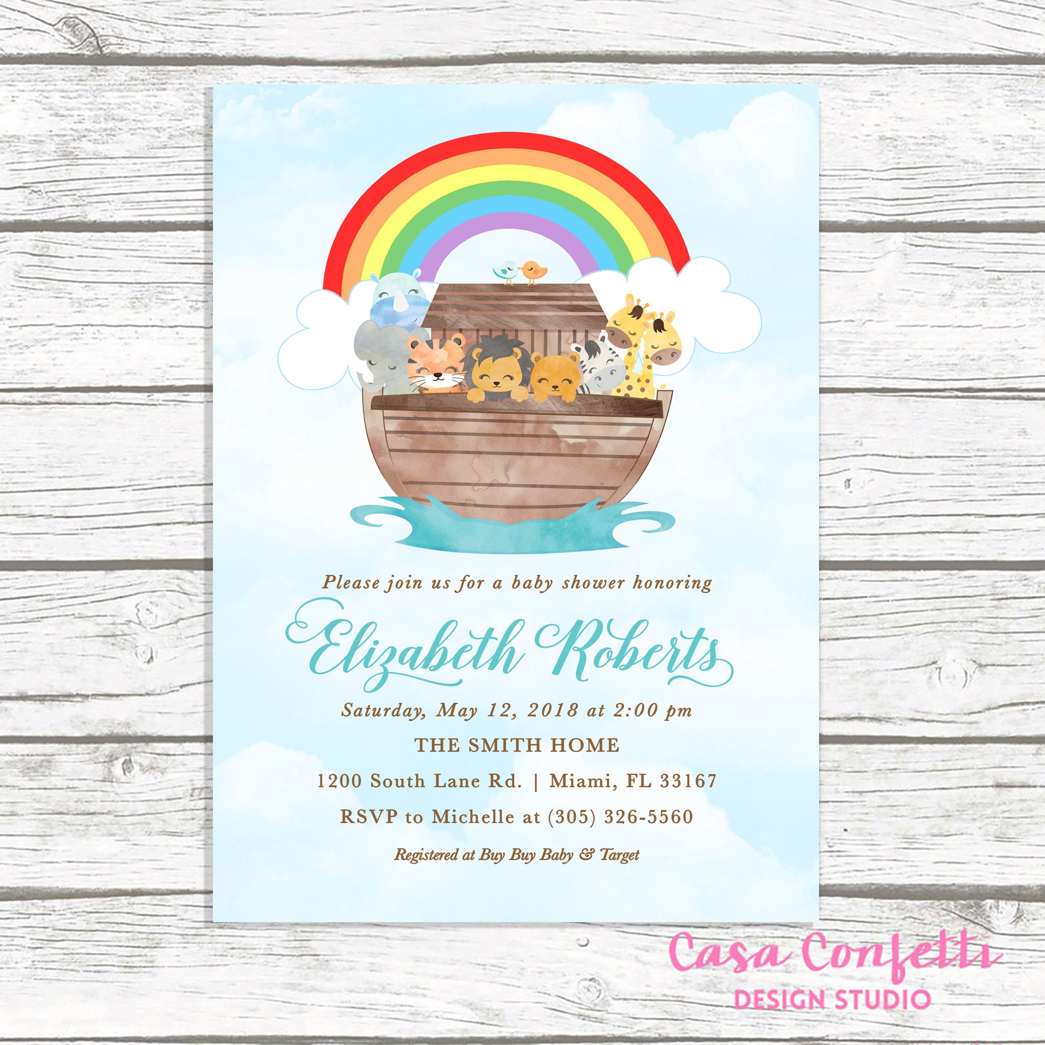 Noahs Ark Baby Shower Invitation Noahs Ark Invitation Baby