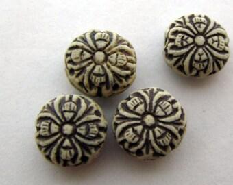20 Tiny Highfired Flower Beads