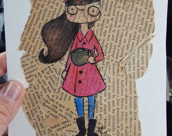 Book background collage cuchi portrait personalized illustration 5x7