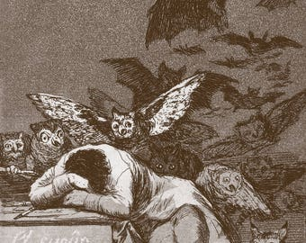 Goya prints, antique etching reproduction, old master drawings, Los caprichos, The Sleep of Reason Produces Monsters Goya FINE ART PRINT