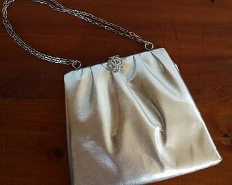 Silver Bells Vintage Lame Handbag. Vintage purse. Holiday bag. 1970s/70s bag.