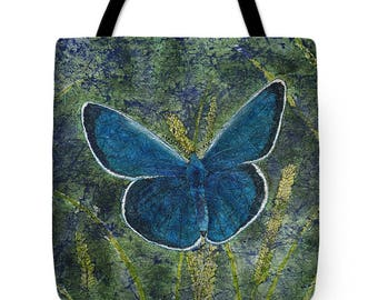 Mother's Day Gift Idea Watercolor Batik Blue Karner Butterfly on Grasses Tote Purse Bag