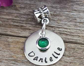 Custom Bracelet Charm - Personalized Bracelet Charm, Name Charm, Birthstone Charm, Gift for Her,  Stamped Charm, European Style Bracelet
