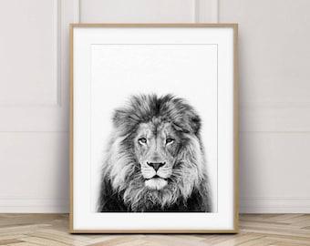 Lion Print, Lion Wall Art, Safari African Animal, Lion Photo, Black And White Animal Print, Nursery Wall Art, Nursery Decor, Printable Art