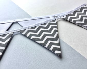 Grey chevron bunting - Mini bunting - 100% cotton bunting - Gray chevron pennant banner - grey home decor