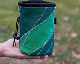 Rock Climbing Chalk Bag   Green Cross-Stitched Design   Gift For Climbers   Handmade Chalk Bag   Outdoor Christmas Gift