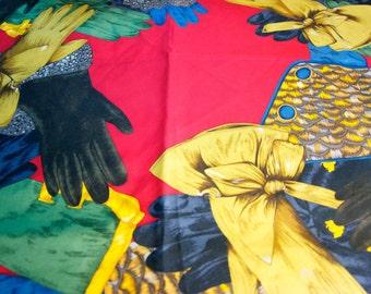 Vintage Silk Hand Rolled Scarf w/ Glove Motif