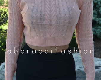 Coral Long Sleeve Knitted Cropped Sweater Crop Top Knit Pink