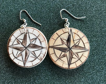 Pyrography Compass Earrings