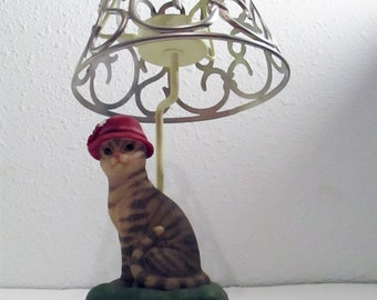 Cat Candle Holder Tabby Cat Candle Holder Vintage Tea Light Candle Faux Lamp with Metal Lamp Shade Tabby Cat Figurine