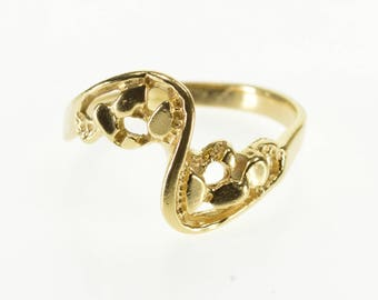 14k Wavy Textured Nugget Freeform Bypass Ring Gold