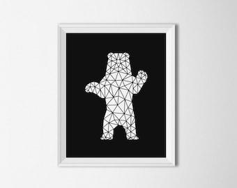 Geometric Bear Printable, Origami bear art, Digital, Minimalist decor, Black and white, Geometric wall decor, Printable Art, Bear wall art