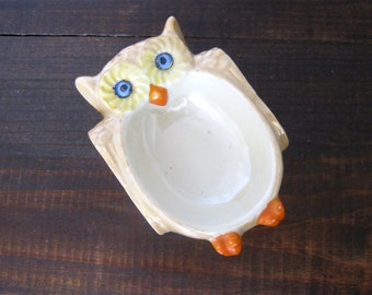 Vintage Owl Trinket Dish, Lusterware Made In Japan, Vintage Ashtray Pin Dish, Figural Luster Ware