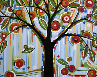 Abstract tree art print ... Falling Leaves -- 8 x 10 Glossy Print, great art gift, from my original artwork