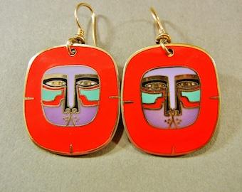 Laurel Burch Mayan Lion earrings, Laurel Burch Mayan earrings, Laurel Burch Lion, Laurel Burch lion face, red lion face earrings, red lion
